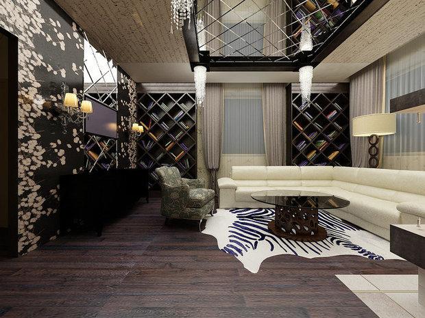 Фотография: Гостиная в стиле Современный, Интерьер комнат, Картины, Зеркало – фото на InMyRoom.ru