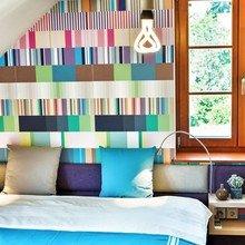 Фотография: Спальня в стиле Современный, Эклектика, Квартира, Цвет в интерьере, Дома и квартиры, Лестница, Бирюзовый, Будапешт – фото на InMyRoom.ru