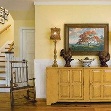 Фотография: Прихожая в стиле Кантри, Декор интерьера, Дизайн интерьера, Цвет в интерьере, Желтый – фото на InMyRoom.ru