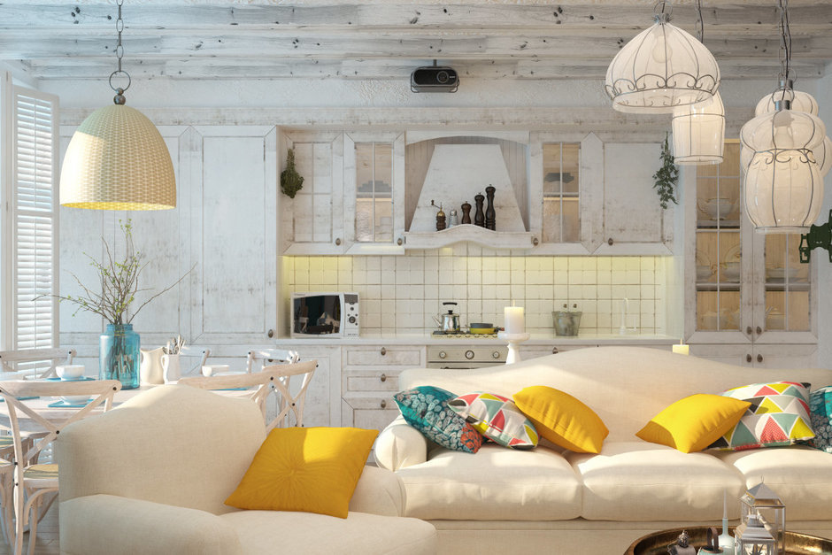 Фотография: Гостиная в стиле Прованс и Кантри, Восточный, Квартира, Дома и квартиры, Проект недели, Средиземноморский – фото на InMyRoom.ru