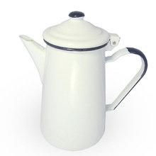 Кофейник - белый/белый (синяя ручка)