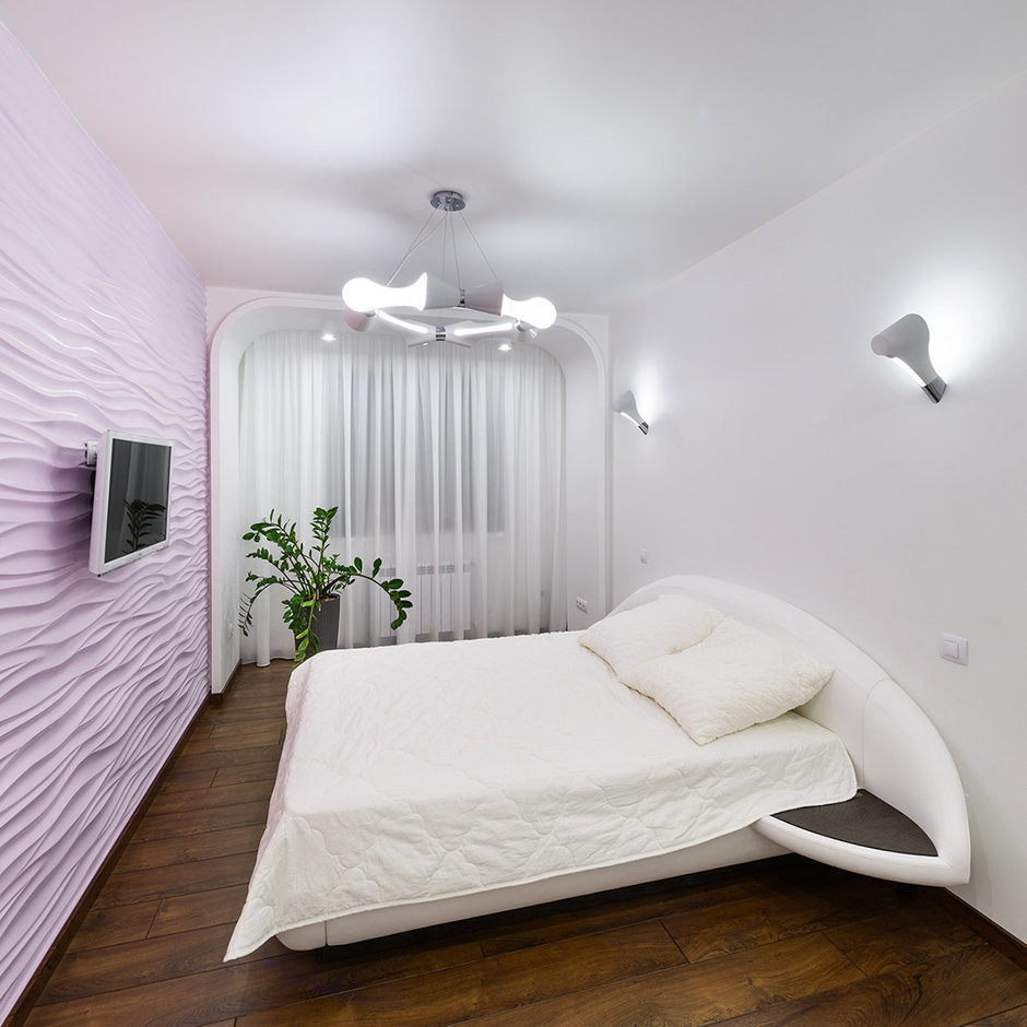 Фотография: Спальня в стиле Хай-тек, Квартира, Цвет в интерьере, Дома и квартиры, Белый – фото на InMyRoom.ru