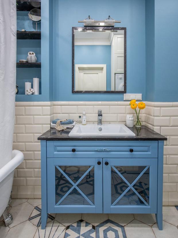 Фотография: Ванная в стиле Классический, Кухня и столовая, Спальня, Квартира, Проект недели, Зеленый, Розовый, Голубой, 1 комната, 40-60 метров, ПРЕМИЯ INMYROOM – фото на INMYROOM