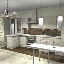 Фото из портфолио Кухня-столовая-гостиная и прихожая загородного дома – фотографии дизайна интерьеров на INMYROOM