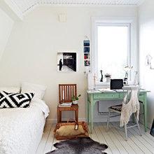 Фотография: Спальня в стиле Скандинавский, Квартира, Дом, Цвет в интерьере, Дома и квартиры, Белый – фото на InMyRoom.ru