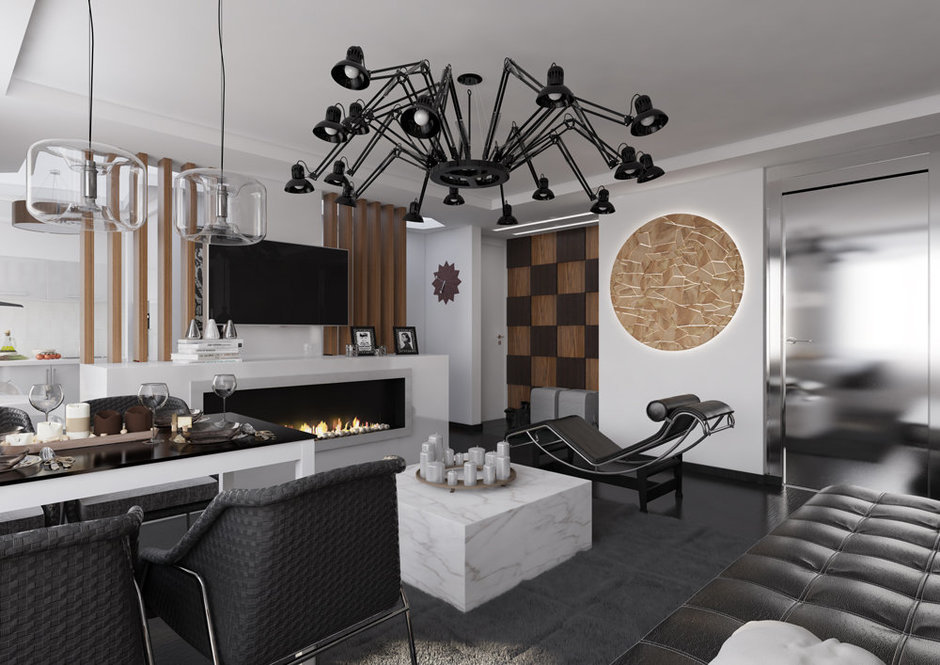 Фотография: Гостиная в стиле Лофт, Современный, Квартира, Дома и квартиры, Проект недели – фото на InMyRoom.ru