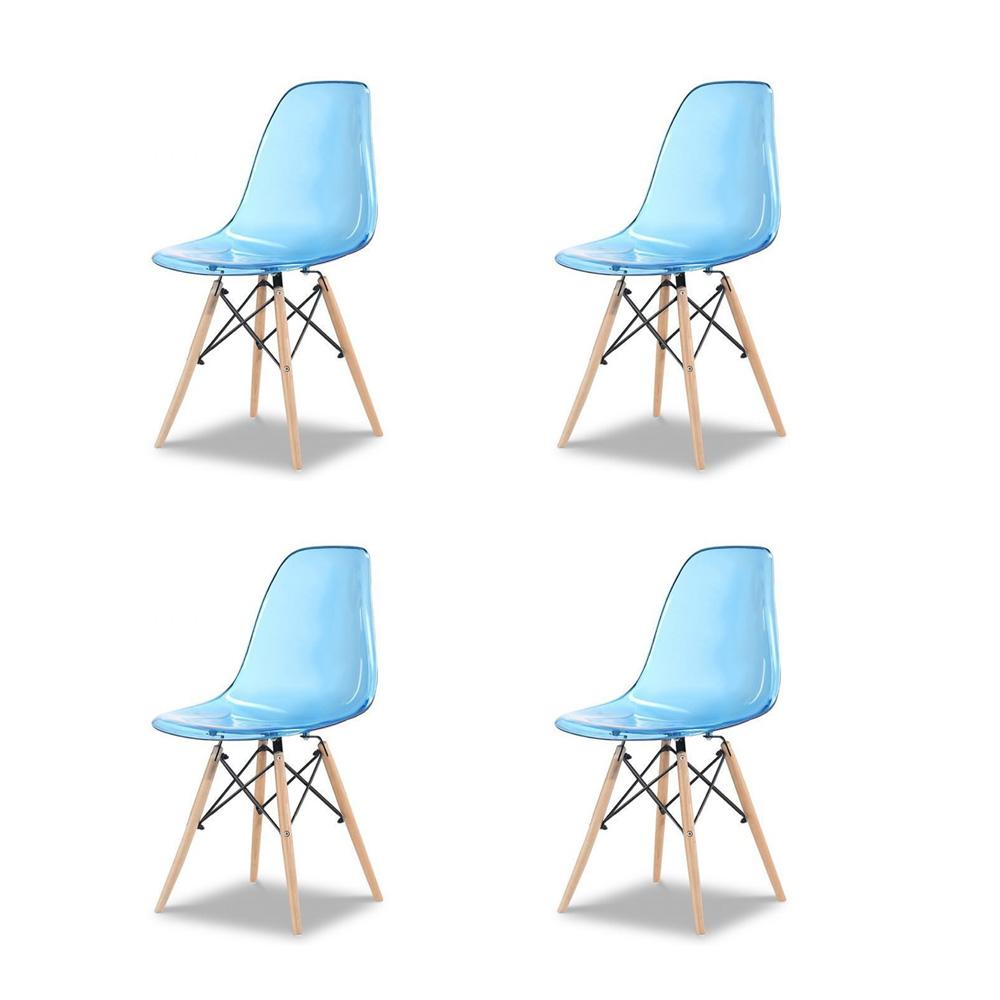 Купить Набор из четырех стульев с синим прозрачным сидением, inmyroom, Китай