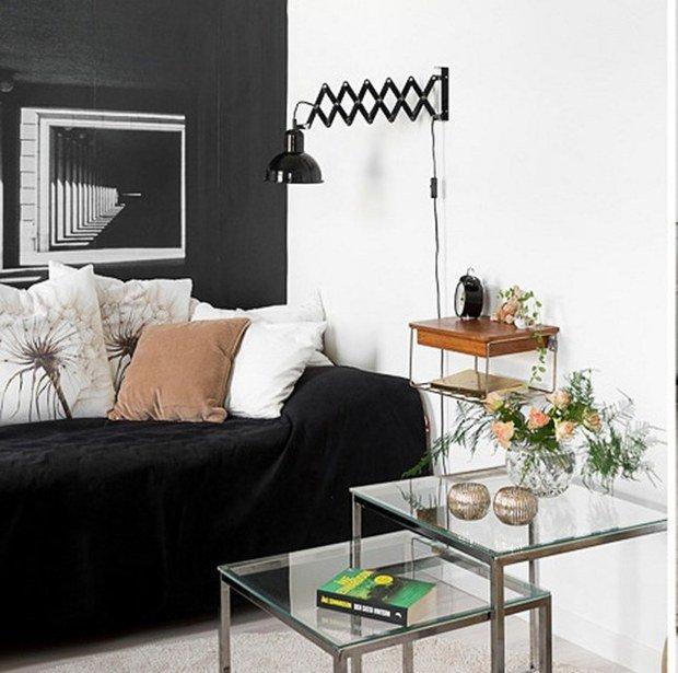 Фотография: Мебель и свет в стиле Современный, Скандинавский, Малогабаритная квартира, Квартира, Белый, Черный – фото на InMyRoom.ru