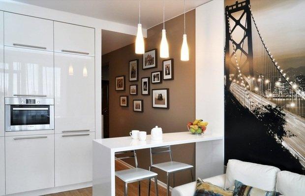 Фотография: Кухня и столовая в стиле Современный, Малогабаритная квартира, Индустрия, События, Проект недели, Перепланировка – фото на InMyRoom.ru