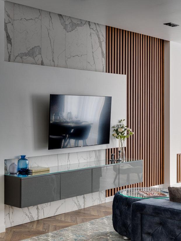 Фотография: Гостиная в стиле Современный, Квартира, Проект недели, Мытищи, 4 и больше, Более 90 метров, Анна Шаповалова – фото на INMYROOM