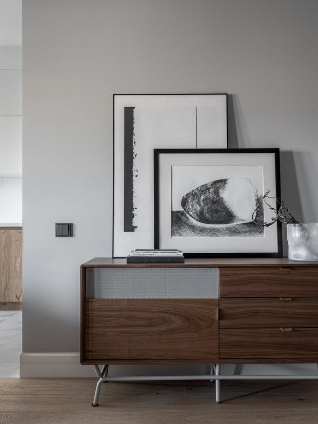 Фотография: Гостиная в стиле Современный, Квартира, Проект недели, Москва, 3 комнаты, Более 90 метров, Малика Нурлан – фото на INMYROOM