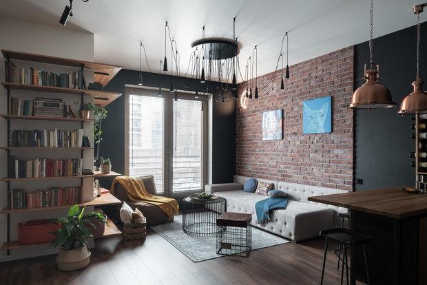 Фотография: Гостиная в стиле Лофт, Квартира, Студия, Перепланировка, VizDiz – фото на INMYROOM