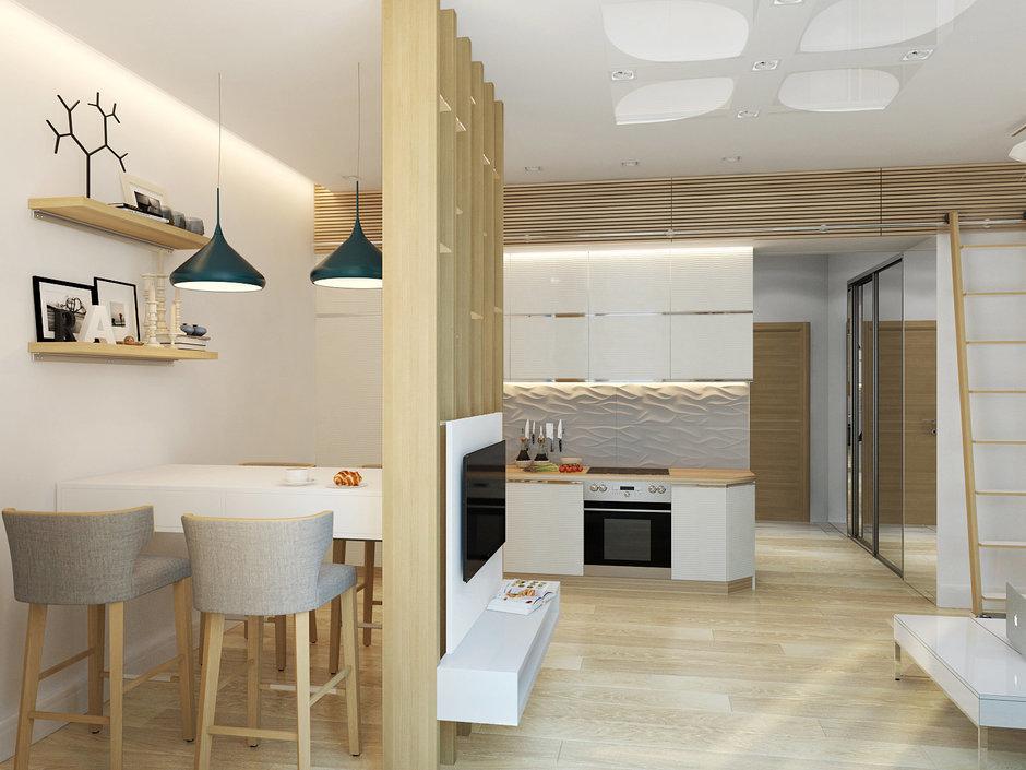 Фотография: Кухня и столовая в стиле Лофт, Современный, Малогабаритная квартира, Квартира, Хранение, Мебель и свет, Дома и квартиры, Проект недели – фото на InMyRoom.ru