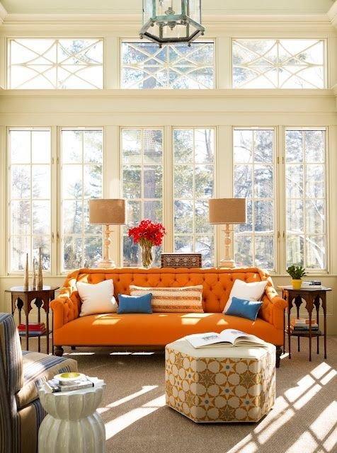 Фотография: Гостиная в стиле Классический, Современный, Восточный, Эклектика, Декор интерьера, Дизайн интерьера, Цвет в интерьере, Оранжевый – фото на InMyRoom.ru