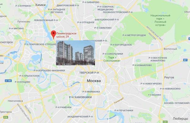 ЖК «Лебедь» на карте Москвы