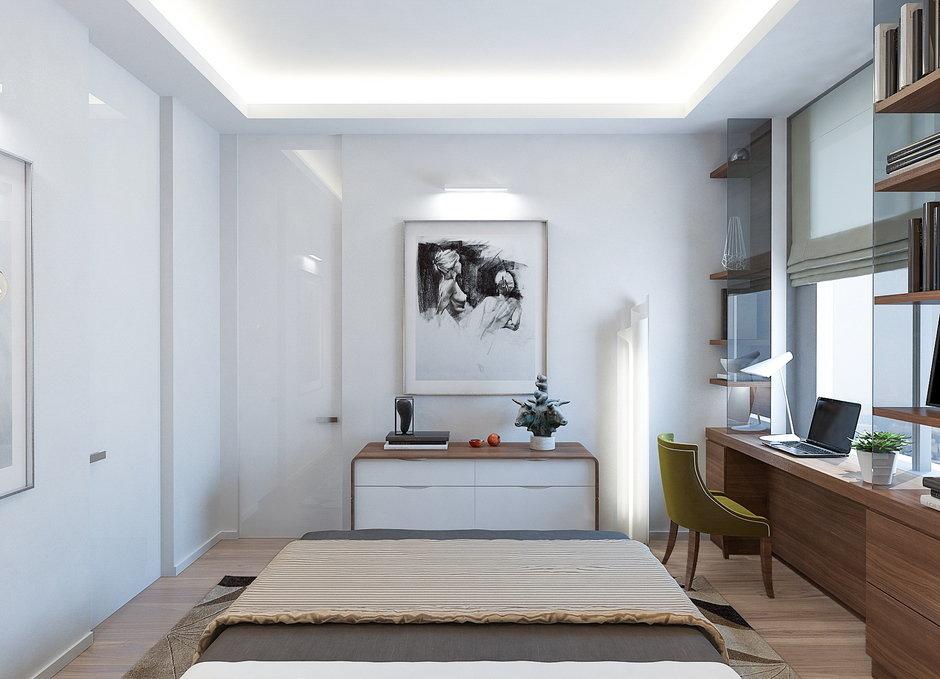 Фотография: Спальня в стиле Современный, Минимализм, Квартира, Проект недели, Москва, Монолитный дом, 3 комнаты, Более 90 метров, Lofting – фото на InMyRoom.ru