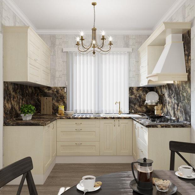 Белая, П-образная кухня «Нэнси», Leroy Merlin