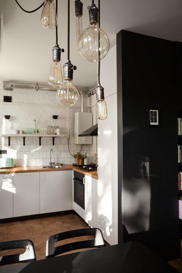 Фотография: Кухня и столовая в стиле Лофт, Скандинавский, Квартира, Студия, Проект недели, Москва, Настя Антонюк, 40-60 метров – фото на INMYROOM