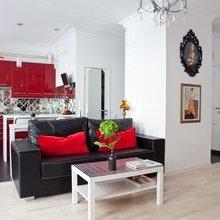 Фотография: Гостиная в стиле Восточный, Эклектика, Лофт, Малогабаритная квартира, Квартира, Цвет в интерьере, Дома и квартиры, Стены – фото на InMyRoom.ru