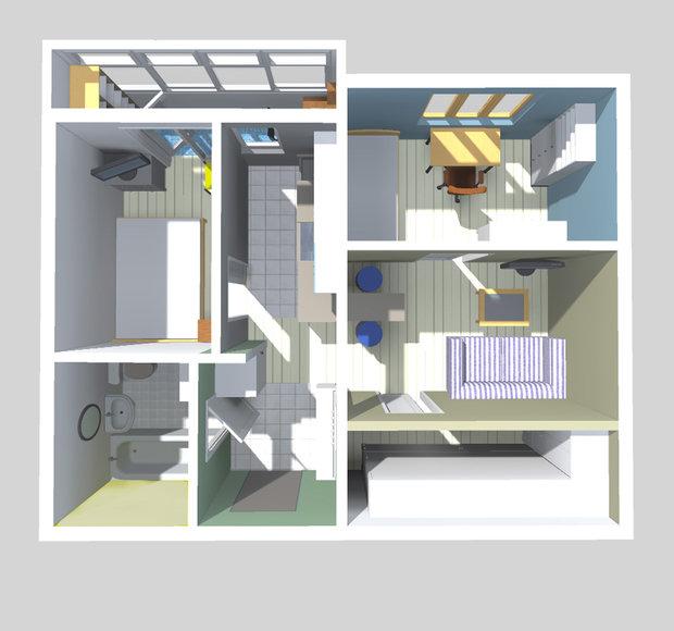 Фотография: Спальня в стиле Современный, Малогабаритная квартира, Квартира, Планировки, Перепланировка, П-43, Панельный дом, 1 комната, до 40 метров – фото на InMyRoom.ru