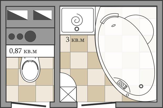 Фотография: Кухня и столовая в стиле Лофт, Ванная, Перепланировка, ИП-46с, Анастасия Киселева – фото на InMyRoom.ru