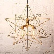 Лампа «Звезда» с тремя ретролампочками золотая