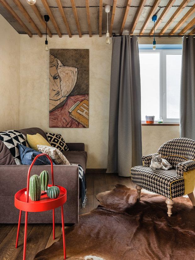 Фотография: Гостиная в стиле Лофт, Квартира, Проект недели, Самара, 1 комната, до 40 метров, Екатерина Малмыгина – фото на INMYROOM