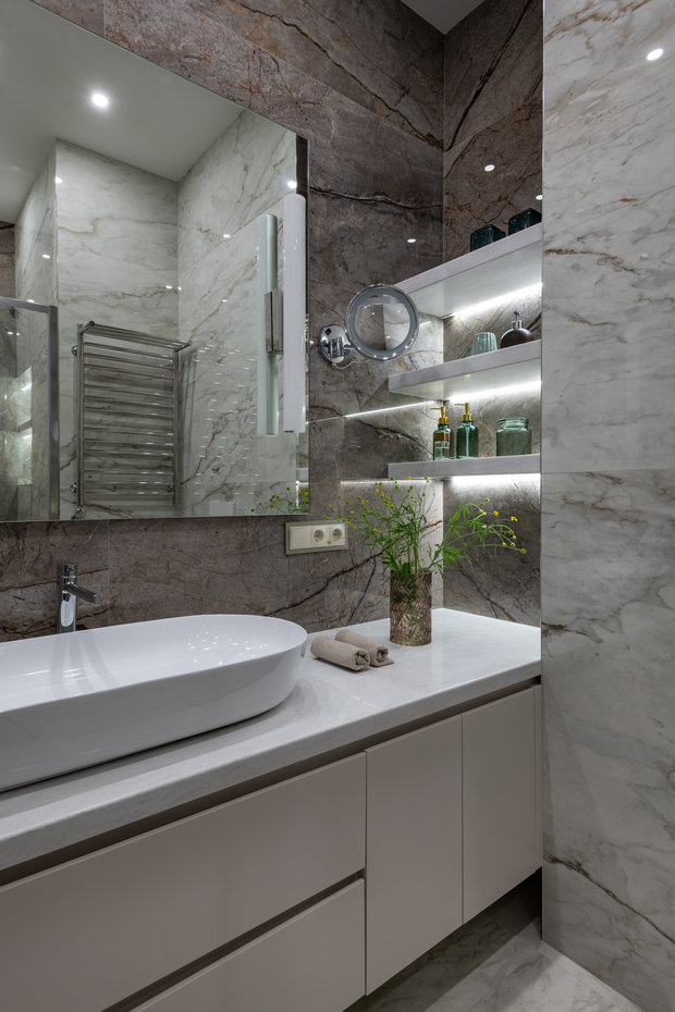 Фотография: Ванная в стиле Современный, Квартира, Проект недели, Москва, Ануш Аракелян, 4 и больше, Более 90 метров – фото на INMYROOM