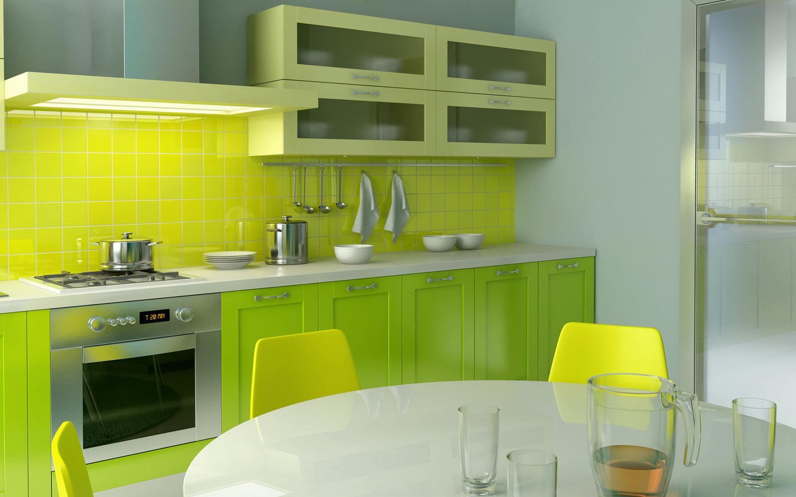 Желтая кухня в сочетании с серым и бежевым