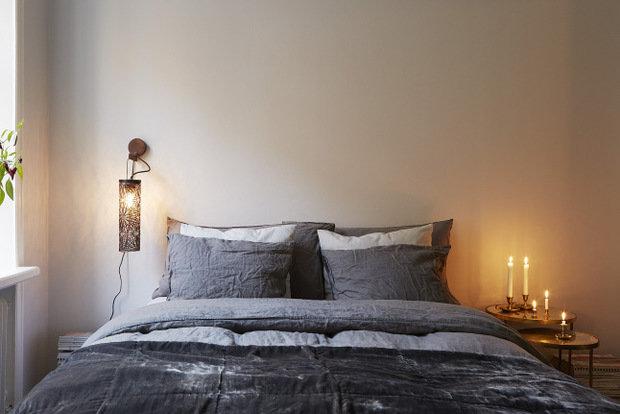 Фотография: Спальня в стиле Скандинавский, Современный, Декор интерьера, Малогабаритная квартира, Квартира, Мебель и свет – фото на InMyRoom.ru