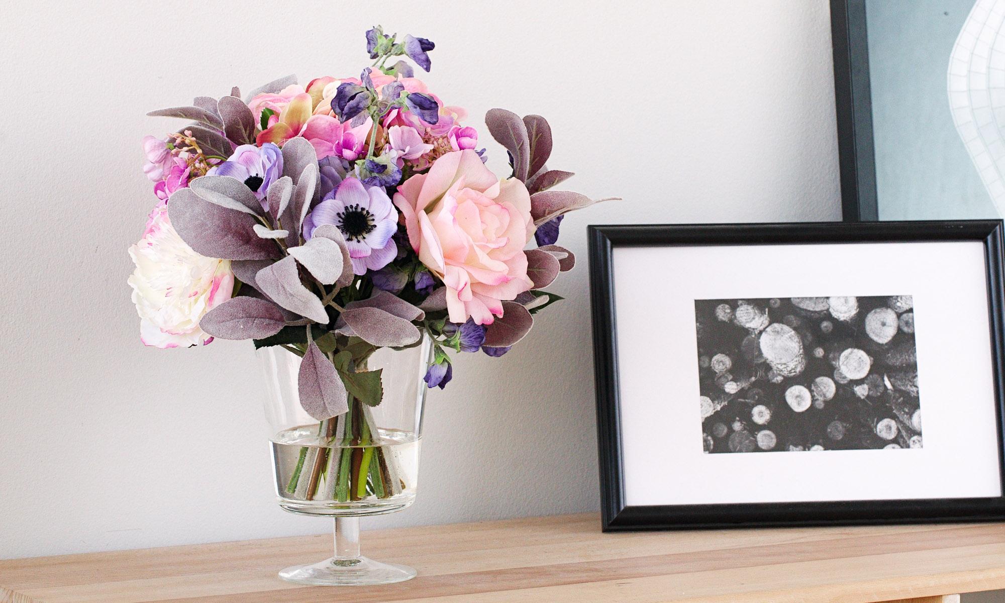 Купить Композиция из искусственных цветов - сиреневая гортензия, анемоны, латурус, розы, inmyroom, Россия