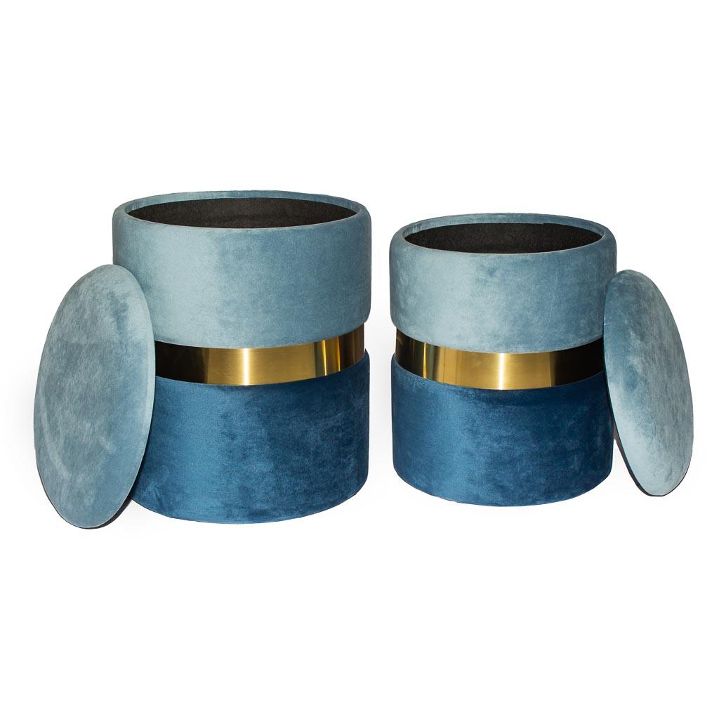 Купить со скидкой Набор из двух пуфиков New-York сине-голубого цвета