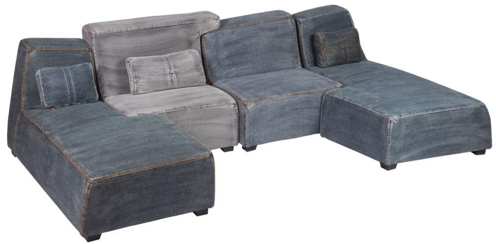 П-образный диван из джинсовой ткани