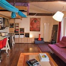 Фотография: Гостиная в стиле Лофт, Малогабаритная квартира, Квартира, Дома и квартиры, Переделка – фото на InMyRoom.ru