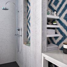 Фотография: Ванная в стиле Скандинавский, Квартира, Цвет в интерьере, Дома и квартиры, Париж, Бирюзовый – фото на InMyRoom.ru
