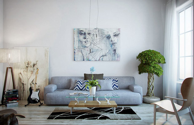 Фотография: Гостиная в стиле Лофт, Декор интерьера, Дизайн интерьера, Цвет в интерьере, Белый, Синий, Серый – фото на InMyRoom.ru