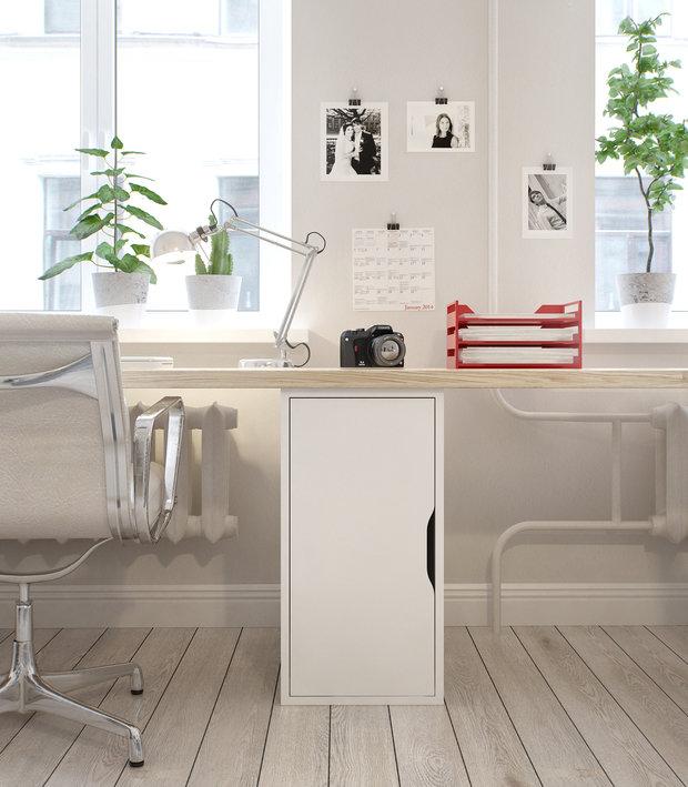 Фотография: Офис в стиле Скандинавский, Современный, Квартира, Дома и квартиры, Проект недели – фото на INMYROOM