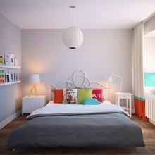 Фотография: Спальня в стиле Скандинавский, Декор интерьера, Дизайн интерьера, Цвет в интерьере, Белый, Серый – фото на InMyRoom.ru