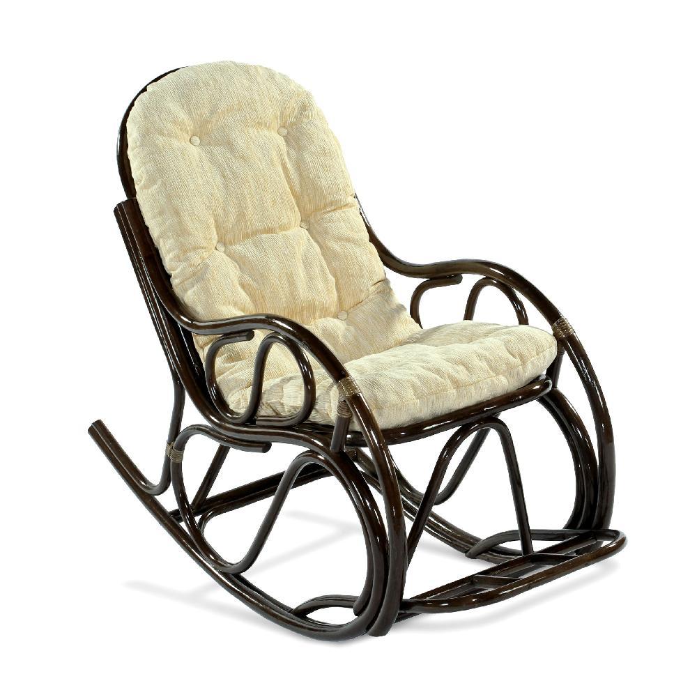 Кресло-качалка из натурального ротанга с подножкой