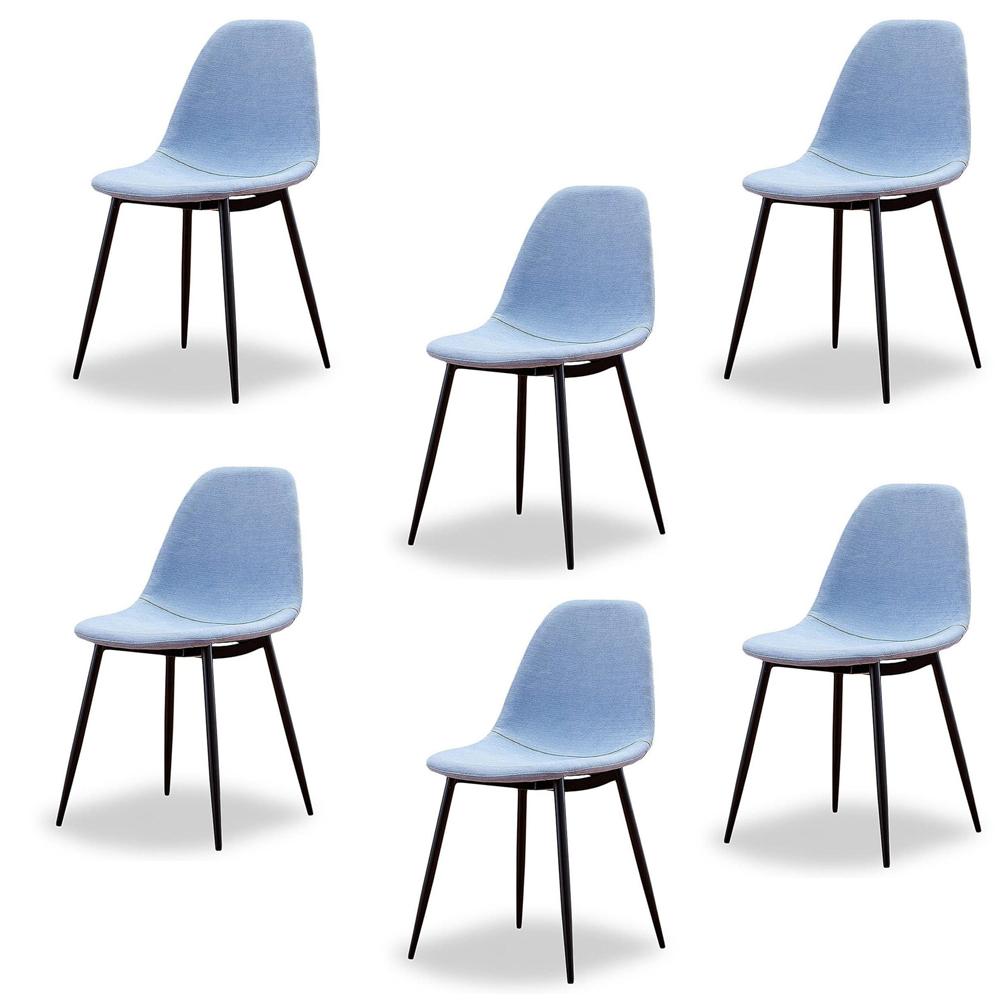 Купить Набор из шести стульев в голубой тканевой обивке, inmyroom, Китай