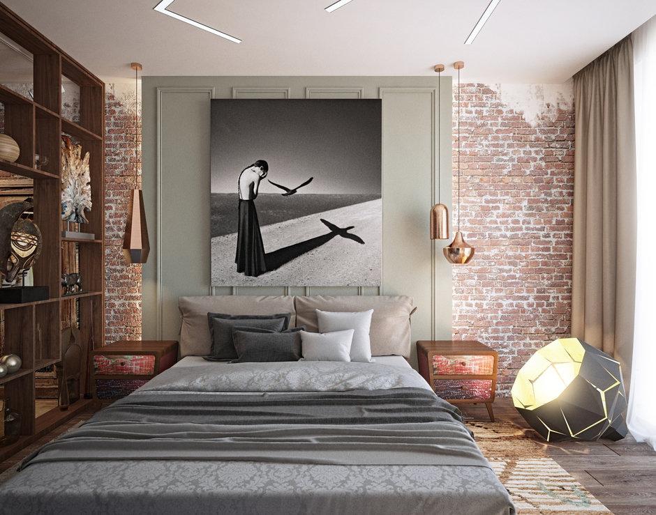 Фотография: Спальня в стиле Лофт, Эклектика, Проект недели, Подмосковье, Таунхаус, Дарья Василькова – фото на InMyRoom.ru