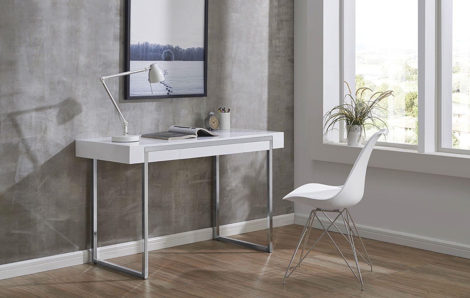 Купить со скидкой Письменный стол белого цвета с ящиком