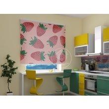 Рулонные шторы на кухню: Клубнички