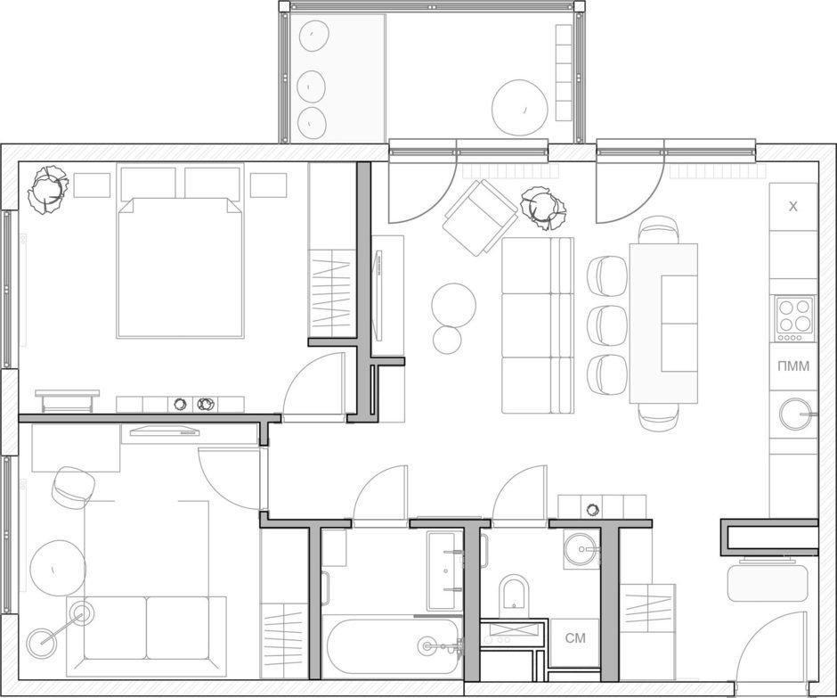 Фотография: Планировки в стиле , Квартира, Проект недели, Санкт-Петербург, Эко, Монолитный дом, 3 комнаты, 60-90 метров, FISHEYE ARCHITECTURE & DESIGN – фото на InMyRoom.ru