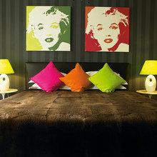 Фотография: Спальня в стиле Эклектика, Дизайн интерьера, Цвет в интерьере, Советы, Поп-арт – фото на InMyRoom.ru