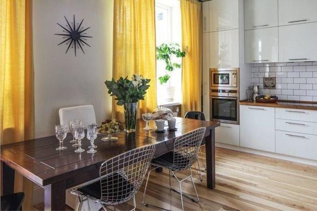 Шторы для желтой кухни