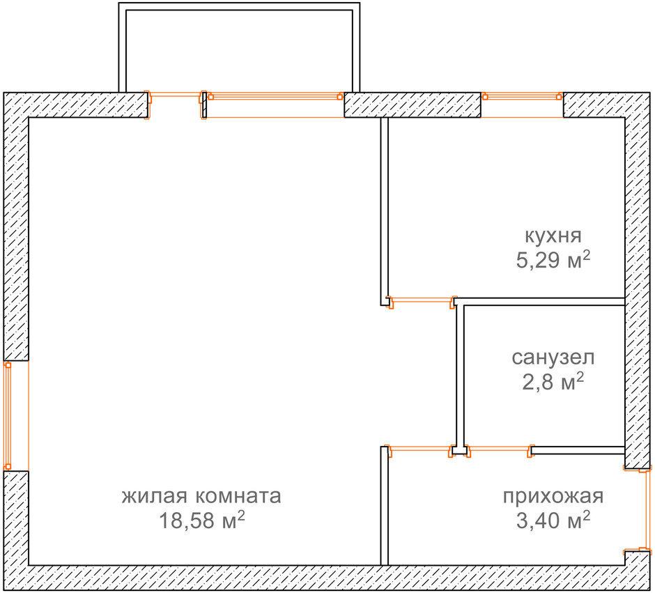 Фотография: Гостиная в стиле Современный, Малогабаритная квартира, Квартира, Планировки, Перепланировка, Кирпичный дом, 1 комната, до 40 метров – фото на InMyRoom.ru