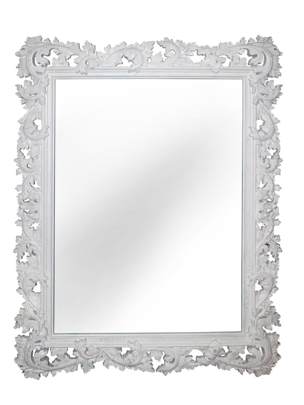 Настенное зеркало алиана в раме белого цвета