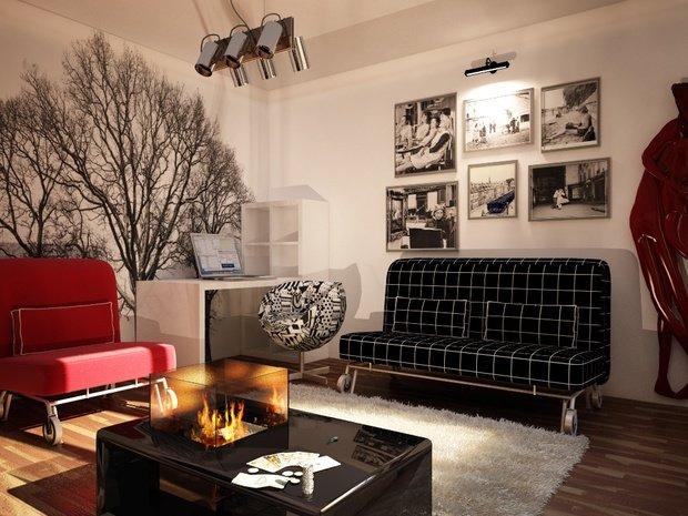 Фотография: Гостиная в стиле Современный, Эклектика, Малогабаритная квартира, Квартира, Дома и квартиры, IKEA, Ремонт, П-111М – фото на InMyRoom.ru