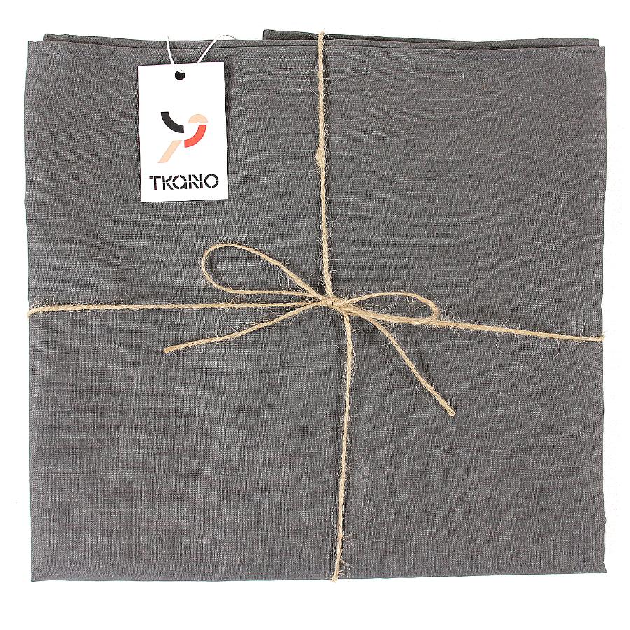 Купить Скатерть на стол из умягченного льна с декоративной обработкой темно-серого цвета, inmyroom, Россия
